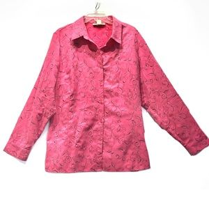 Sag Harbor Soft Suede-Like Embroidered Pink Shirt